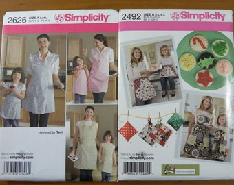 Lot of 2 Retro Style Simplicity 2626 2492 Apron Sewing Patterns Vintage Mommy and Me Full or Half