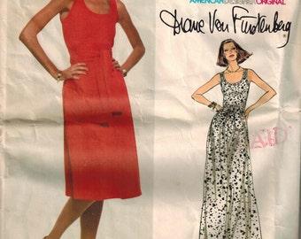 Vogue 1662 1970s Diane Von Furstenberg Designer Original Pattern Size 8 Sundress Maxi Tie Waist