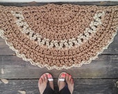 "Doormat Cinnamon and Jute color Crochet Half Circle 15"" x 30"" READY to SHIP"