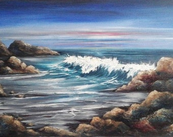 "Oil Painting Stormy Beach Sea Seascape Ocean Waves Rocks Original 12"" x 24"" READY to SHIP"