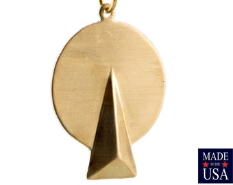 1 Loop Raw Brass Circle with Triangle Drops Charms 27x20mm (6) mtl066M