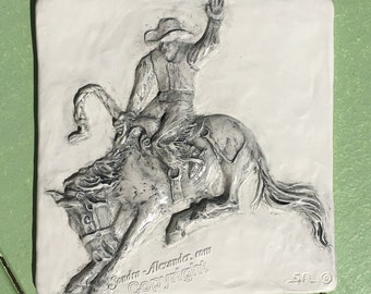 Saddle Bronc Rider Rodeo Cowboy Western Ceramic 3-d Tile by Alexander Art LLC sculpture Portrait In Stock ready to ship!
