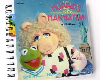 Muppets Take Manhattan  // Record Journal & Sketchbook // Recycled 45 Album Cover