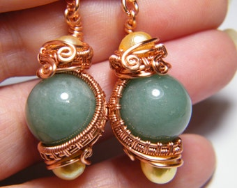 Earrings: woven wire wrapped 14mm Green Aventurine beads with cultured Pearls  earrings
