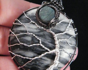 Marble Tree Of Life with Tourmaline and Labradorite pendant