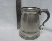 Vintage British Pewter Tankard Beer Stein Height 12cm