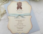 Blue Hydrangea Invitations Bridal Shower Set of 10 Floral Engagement Printed Invitations