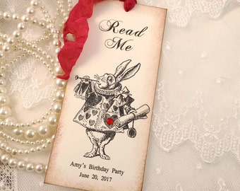White Rabbit Bookmarks Read Me Alice in Wonderland Party Favors Set of 10