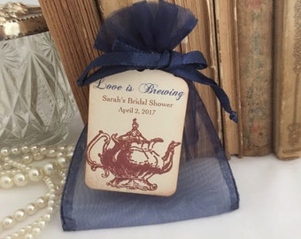 Tea Party Favor Set Organza Bags and Teapot Tags Navy Blue Set of 10