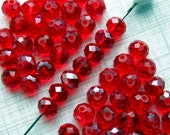 Red Crystal Beads AB Finish - Set of 50 - 8mm Rondelles - Ruby Red Glass Beads (CBD0176)