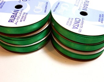 Green Ribbon, Double-faced Kelly green satin ribbon 1/4 inch wide x 60 yards