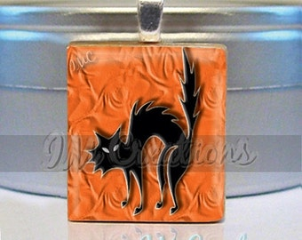 60% OFF CLEARANCE Scrabble tile pendant - WICKED Cat (Hal110)