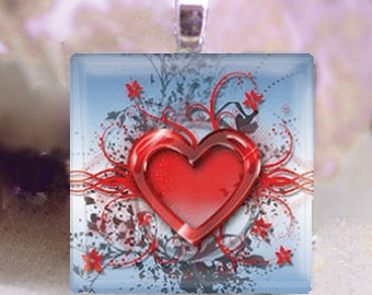 60% OFF CLEARANCE Glass tile pendant - Dashing Heart