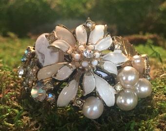 Sweet Marzipan - collage assemblage cuff cream white flower enamel rhinestone cameo pearl romantic