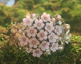Pollination - assemblage collage cuff bee bumble flower floral romantic garden fairy fantasy bouquet wedding bride bridal gold pink