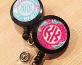 Monogrammed ID Badge reel, personalized, badge clip, lilly inspired patterns, monogrammed  9 pattern choices