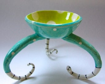 whimsical pottery Bowl w/ polkadots, stripes, curly legs, fun, colorful ceramic Beach Home Decor -- ready to ship