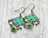 Verdigris Drop Earrings - Floral Filigree Swarovski Crystals Czech Glass Vintage Style Victorian Mint Khaki Green Drop Earings