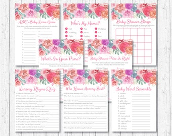 Pink Floral Baby Shower Games Package / Floral Baby Shower / Watercolor Flowers / 8 Printable Games / INSTANT DOWNLOAD A386