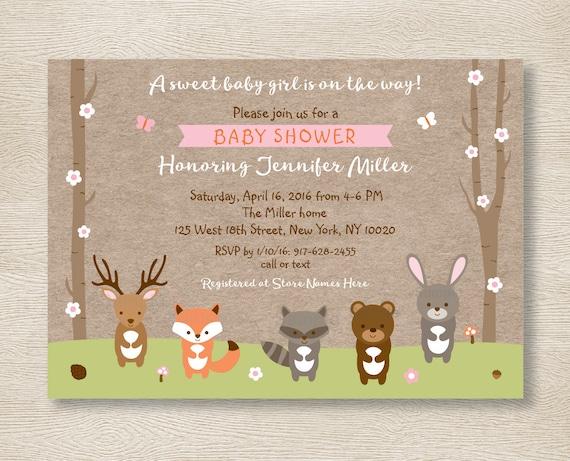 Very best Pink Woodland Animals Baby Shower Invitation / Woodland Baby  OM87