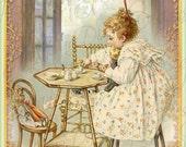 Dolly's Tea Party, Digital Collage, Instant Download, Gift Card or Photo PS022