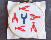 Red and Blue Lobsters Cross Stitch Pattern, pdf, digital download