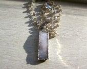 Silver Drusy Bar Labradorite Necklace