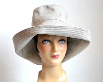 Linen Sun Hat - CHOOSE YOUR LINEN - Women's Retro Sun Hat - Made to Order
