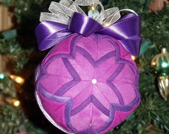 """Quilted Fabric Christmas Ball - Purple and Pink - 6"""" Diameter - Holiday Decor - Home Decor - Christmas Ball - Ornament - Ball - Decoration"""