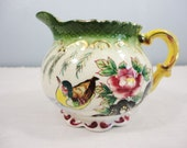 Vintage Cream Pitcher - Bird with Rose Design Green with Yellow Handle - Japan Hand Painted