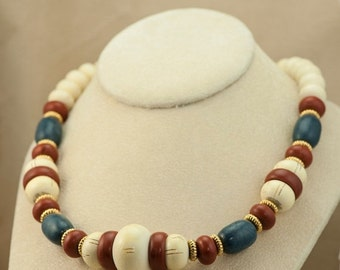 Vintage Necklace - Reddish Brown, White and Blue Colored Wood Bead Necklace with Gold Spacers