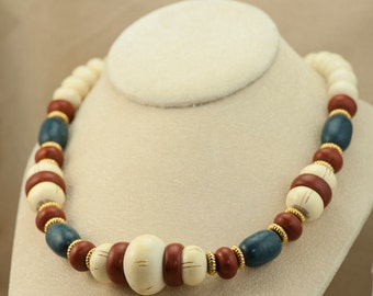 Vintage AVON Necklace - Reddish Brown, White and Blue Colored Wood Bead Necklace with Gold Spacers