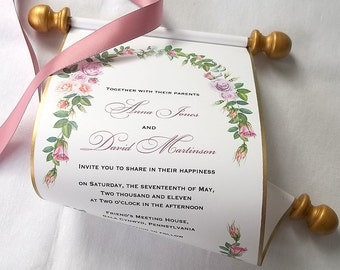 Floral wedding invitations, scroll invitations, watercolor roses, mauve pink and gold, floral wreath invitation, summer wedding {15}