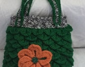 Crocodile Stitch Green,Orange Flower, Black,White,Grey,Sparkle,Boho, Chic, Handbag, Flower Bag, Shoulder Bag, Medium Size Bag,
