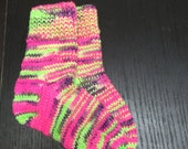 "Size 5 1/2"""" Watermelon Socks, Childs, Hand Knit, Merino Knitted Socks"