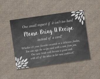 Please Bring a Recipe Instead of a Card! Insert for Bridal Shower Invitations - Recipe Card Cookbook Gift Idea Rustic Chalkboard DIY Burlap