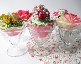 Ice Cream Parfait Bowls Anchor Hocking Set of Six - Vintage Chic Weddings Bridal