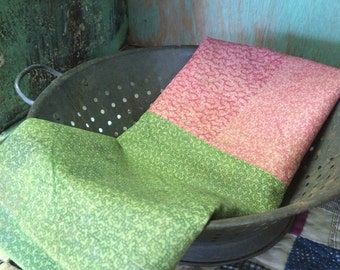 Salvaged length of Antique Fabric Double Pink and Poison Green