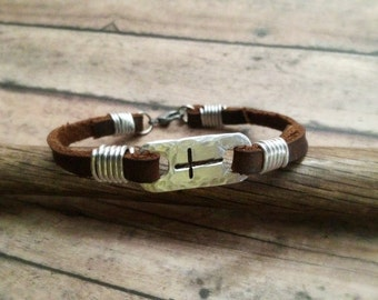 Cross Bracelet, Cross Leather Bracelet, Rustic Cross Bracelet, Christian Bracelet, Bible Bracelet, Confirmation Bracelet, First Communion