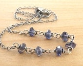 Blue Gemstone Necklace, Faceted Iolite, Sterling Silver, Blue Violet, Wire Wrapped, 4586