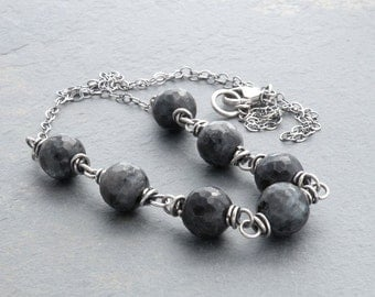 Norwegian Moonstone Necklace, Larvikite Necklace, Sterling Silver, Black and GrayStone Necklace, Wire Wrapped, Oxidized Sterling, #4693