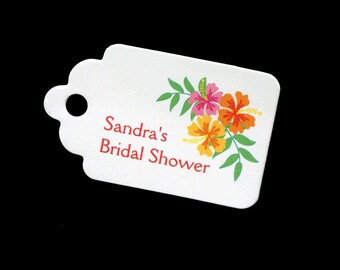 Personalized Bridal Shower Tags - Bridal Shower Favor Tags - Hibiscus Gift Tags - Wedding Tags - Tropical - Personalized Tag - Small