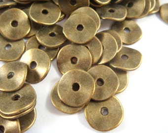 50 Flat Spacer Bead Wavy Donut Antique Bronze Bead 10x1mm LF/CF/NF - 50 pc - M7028-AB50