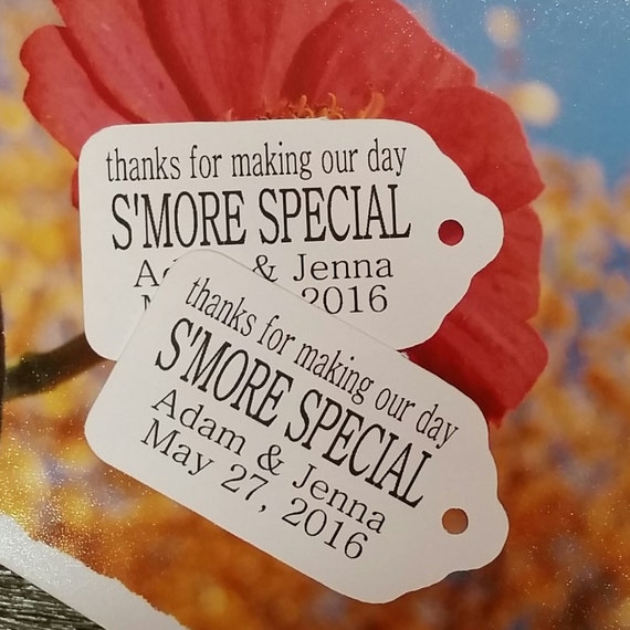 """Thanks for making our day Smore Special Choose your quantity SMALL 2"""" Favor Tag"""