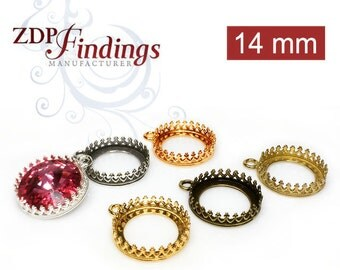 10pcs x Round 14mm Crown Bezel Cup Setting for Pendant or Earrings fit Swarovski Rivoli 1122 Crystals, Choose your Finish (8089V)