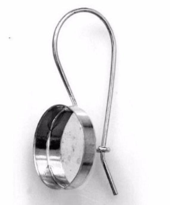 4pcs x  Round 12mm Bezel Earrings on Kidney Wire 925 Sterling Silver (180312)