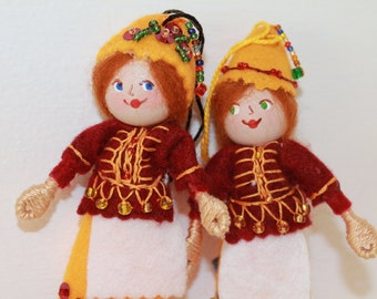 Felt Art Doll or Hanging Ornament Woodland Colors Pixie, Felt decoration, Felt figurines