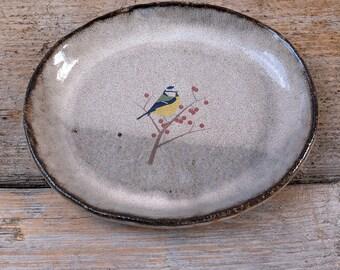 Black Ceramic Oval Blue Tit Plate