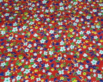 vintage 70s bright red cotton fabric featuring cute calico print, 1 yard, 2 available priced PER YARD
