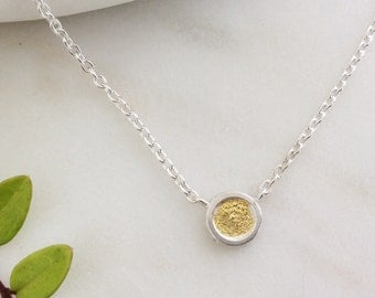 Silver & 24ct Gold Circle Pendant Necklace